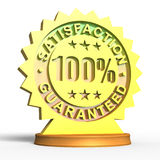 Golden 100 Satisfaction Guaranteed. 3D rendered Golden 100% satisfaction guaranteed metallic seal isolated in white Stock Illustration