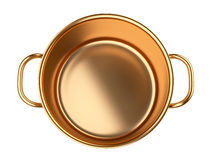 Golden saucepan. Stock Photos