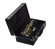 Golden saxophone. In black case Royalty Free Stock Photography