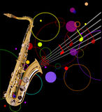 Golden saxophone on black background Royalty Free Stock Image