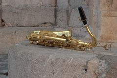 Golden saxophone Stock Images