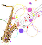 Golden saxophone and music background Stock Images