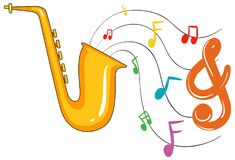 Golden saxophone and music notes in background Royalty Free Stock Photos