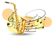 Golden saxophone with music notes in background Stock Photos