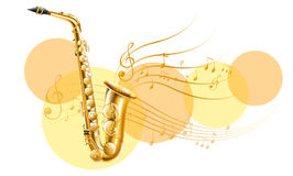 Golden saxophone with music notes Stock Image