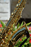 Golden saxophone musical instrument Royalty Free Stock Images