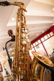 Golden saxophone show in the shop. Stok photo stock photography