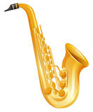 Golden saxophone on white background Royalty Free Stock Images