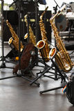 Golden saxophones Stock Photography