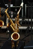 Golden saxophones Royalty Free Stock Images