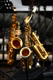 Golden saxophones Stock Image