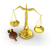 Golden scale and gavel Stock Photography