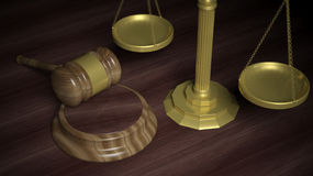 Golden scales and court hammer Royalty Free Stock Photography