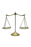 Golden scales of justice Royalty Free Stock Image