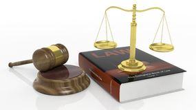 Golden scales, law manual and court hammer Stock Photography