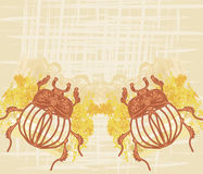 Golden Scarab frame Stock Images