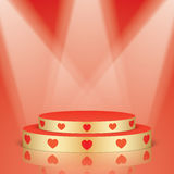 Golden scene with red hearts and lighting. Stock Image