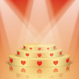 Golden scene with red hearts and lighting. Stock Images