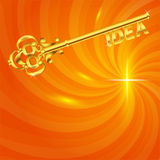 Golden-Schlüssel-Idee-in-d-heiß-Energie-Hintergrund Lizenzfreie Stockbilder
