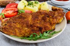 Golden schnitzel, boiled potatoes and salad Royalty Free Stock Image