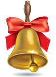 Golden school bell with red bow Royalty Free Stock Photography