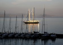 Schooner in the rays of the setting su Stock Images