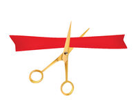 Golden scissors cut the red ribbon. The Symbol of the Grand Opening Event. Vector Object. Design Element. Royalty Free Stock Photography