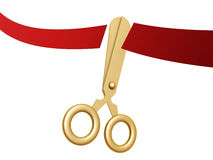 Golden scissors and ribbon. Golden scissors cut ribbon isolated on white background Royalty Free Stock Images