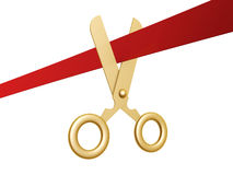 Golden scissors and ribbon. Golden scissors cut ribbon isolated on white background Stock Photography