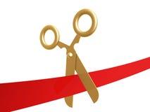 Golden scissors and ribbon. Golden scissors cut ribbon isolated on white background Stock Image