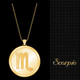 Golden Scorpio Pendant Necklace. Golden Pendant Necklace with star burst design and gold chain, with the embossed Horoscope symbol for the astrology Water Sign Stock Images