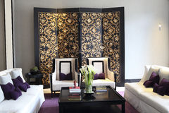 Golden screen of the lounge Stock Images