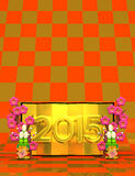 2015 Golden Screen On Pattern Text Space. 3D render illustration For The Year Of The Sheep,2015. On Red And Gold Vector Illustration
