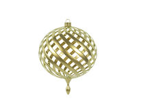 Golden screw-shaped christmas ball on white Royalty Free Stock Photos