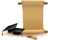 Golden scroll with mortar boards and diploma. Only linear gradients used vector illustration