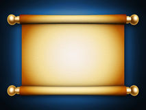 Golden scroll parchment. With shadow on blue background Royalty Free Stock Images