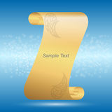 Golden scroll with sheets on a blue background. Stock Image