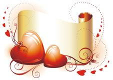 Golden scroll for Valentine\'s Day. Stock Images