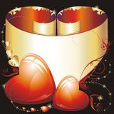 Golden scroll for Valentine's Day Royalty Free Stock Images
