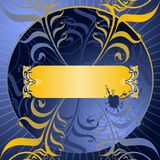 Golden Scrolls Blue Background Royalty Free Stock Photos