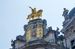 Golden Sculpture on Ancient Buildings In Grand Place, Brussels Stock Photography