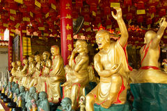 Golden Sculpture Chinese Gods in Chinese Temple at Phitsanulok, Stock Images