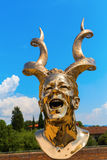 Golden sculpture at the Forte di Belvedere in Florence, Italy. Florence, Italy - July 06, 2016: golden sculpture at the Forte di Belvedere in Florence. It is a stock photography