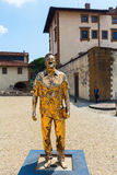 Golden sculpture at the Forte di Belvedere in Florence, Italy. Florence, Italy - July 06, 2016: golden sculpture at the Forte di Belvedere in Florence. It is a stock images