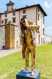 Golden sculpture at the Forte di Belvedere in Florence, Italy. Florence, Italy - July 06, 2016: golden sculpture at the Forte di Belvedere in Florence. It is a royalty free stock photo