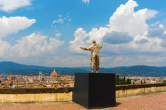 Golden sculpture at the Forte di Belvedere in Florence, Italy. Florence, Italy - July 06, 2016: golden sculpture at the Forte di Belvedere in Florence. It is a stock photos