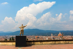Golden sculpture at the Forte di Belvedere in Florence, Italy. Florence, Italy - July 06, 2016: golden sculpture at the Forte di Belvedere in Florence. It is a stock photo