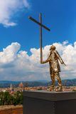 Golden sculpture at the Forte di Belvedere in Florence, Italy. Florence, Italy - July 06, 2016: golden sculpture at the Forte di Belvedere in Florence. It is a stock image