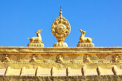 The Golden sculpture of Tibet architecture Stock Image