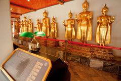 Golden sculptures of Buddha inside museum of historical monastery Stock Image